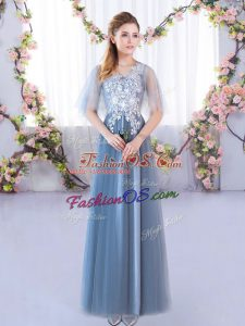 Flirting A-line Bridesmaid Dresses Blue V-neck Tulle Half Sleeves Floor Length Lace Up