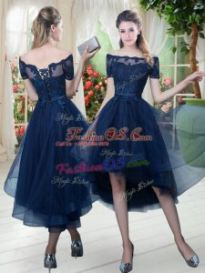 Navy Blue Off The Shoulder Lace Up Lace Prom Dress Short Sleeves