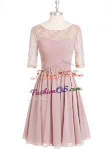 Inexpensive Chiffon Half Sleeves Knee Length Prom Party Dress and Lace and Ruching