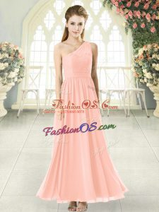 Dramatic Pink Sleeveless Ankle Length Lace Side Zipper