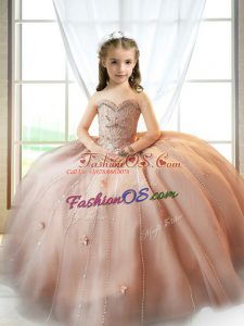 Floor Length Pink Child Pageant Dress Tulle Sleeveless Beading and Appliques