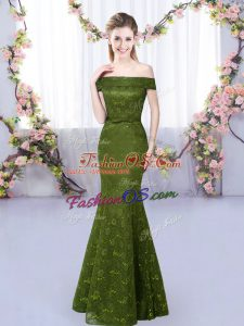 Clearance Olive Green Lace Up Off The Shoulder Lace Quinceanera Court Dresses Sleeveless