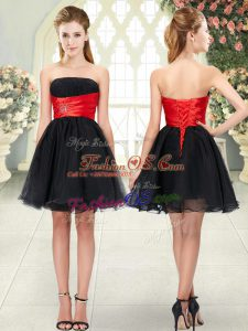 Flare Black A-line Strapless Sleeveless Organza Mini Length Lace Up Beading Prom Dress
