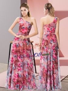 Sophisticated Multi-color Empire Printed One Shoulder Sleeveless Pattern Floor Length Zipper Prom Gown