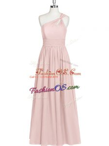 Baby Pink Sleeveless Chiffon Side Zipper Homecoming Dress for Prom and Party and Military Ball