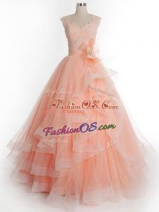 Floor Length Lace Up 15 Quinceanera Dress Peach for Military Ball and Sweet 16 and Quinceanera with Ruffles