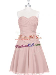 Custom Fit Pink Zipper Dress for Prom Ruching and Pleated Sleeveless Mini Length