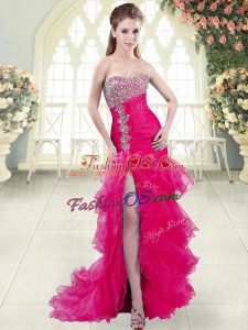 New Arrival Fuchsia Lace Up Sweetheart Beading and Ruffled Layers Dress for Prom Organza Sleeveless Brush Train