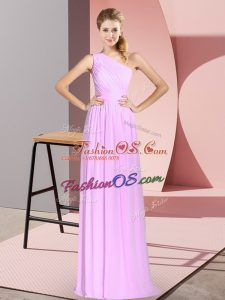 Beautiful Floor Length Lace Up Prom Dress Lilac for Prom and Party with Ruching