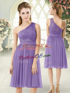 Empire Dress for Prom Lavender One Shoulder Chiffon Sleeveless Knee Length Side Zipper