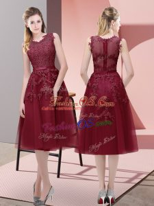 Extravagant A-line Prom Party Dress Burgundy V-neck Tulle Sleeveless Tea Length Lace Up