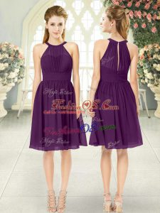 Flare Purple Sleeveless Ruching Knee Length Dress for Prom