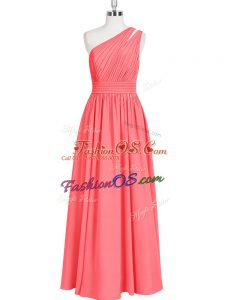 Glittering Red A-line One Shoulder Sleeveless Chiffon Floor Length Zipper Ruching Prom Party Dress