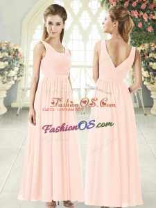 Modest Chiffon V-neck Sleeveless Zipper Ruching Prom Gown in Pink