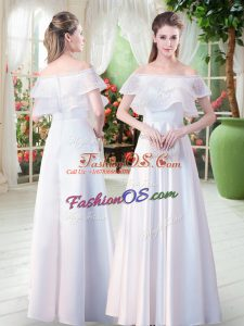Empire Dress for Prom White Off The Shoulder Satin Short Sleeves Floor Length Zipper