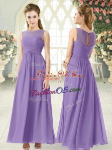 Lavender Empire Scoop Sleeveless Chiffon Ankle Length Zipper Ruching Prom Dress