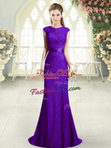 Super Dark Purple Mermaid Beading Prom Dress Backless Lace Sleeveless