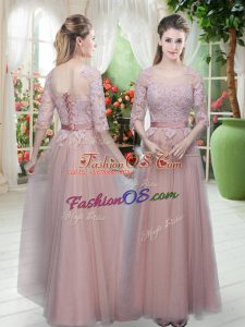 Excellent Floor Length Pink Prom Party Dress Scoop Half Sleeves Lace Up