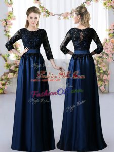 Chic 3 4 Length Sleeve Satin Floor Length Zipper Quinceanera Court Dresses in Navy Blue with Lace
