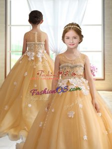Gold Ball Gowns Beading and Appliques Little Girl Pageant Gowns Zipper Organza Sleeveless