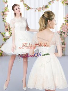 Lace Quinceanera Court Dresses Champagne Lace Up Short Sleeves Mini Length