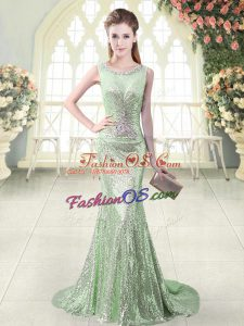 Exceptional Beading Dress for Prom Apple Green Zipper Sleeveless Brush Train