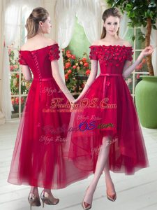 Unique Red Tulle Lace Up Prom Dress Short Sleeves High Low Appliques