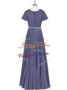 Extravagant Blue Dress for Prom Prom and Party and Military Ball with Beading and Pleated Scoop Short Sleeves Zipper