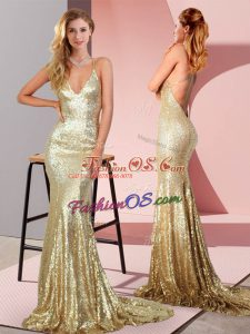 Gold Mermaid Ruching Prom Gown Backless Sequined Sleeveless