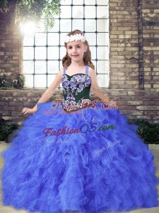 Cute Straps Sleeveless Pageant Gowns For Girls Floor Length Embroidery and Ruffles Blue Tulle