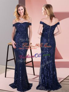 Lovely Ruching Prom Evening Gown Navy Blue Zipper Sleeveless Floor Length