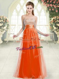 Shining Sleeveless Tulle Floor Length Lace Up Prom Dress in Orange Red with Beading