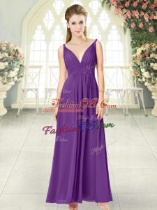 Superior Purple Sleeveless Chiffon Zipper Prom Dresses for Prom and Party