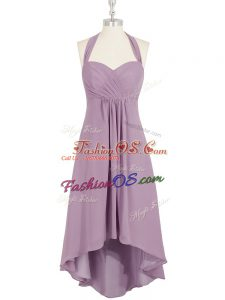 Luxurious Halter Top Sleeveless Zipper Dress for Prom Lilac Chiffon