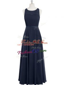 Glorious Floor Length Black Prom Gown Chiffon Sleeveless Ruching