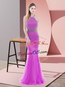 Sweet Sleeveless Beading Backless with Lilac Brush Train