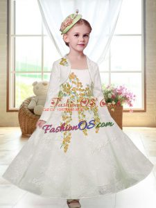 Shining Ankle Length A-line Sleeveless White Flower Girl Dresses for Less Zipper