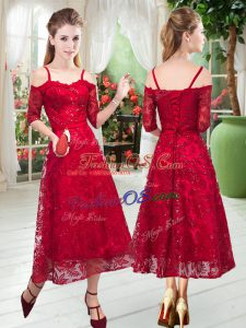 Shining Red Spaghetti Straps Neckline Lace Prom Evening Gown Half Sleeves Zipper