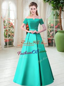 Turquoise Satin Lace Up Off The Shoulder Short Sleeves Floor Length Prom Gown Belt