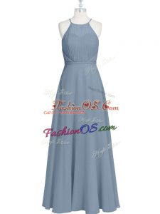 Floor Length Grey Prom Gown Chiffon Sleeveless Ruching and Pleated