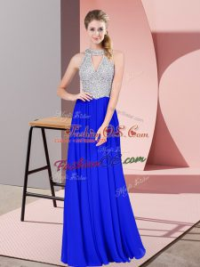 Sleeveless Floor Length Beading Zipper Prom Evening Gown with Royal Blue