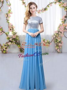 Super Blue Zipper Vestidos de Damas Sequins Short Sleeves Floor Length