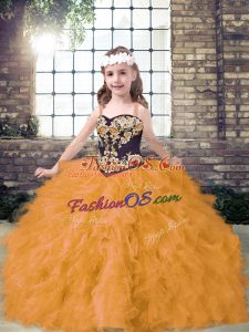 Fantastic Sleeveless Embroidery and Ruffles Lace Up Little Girl Pageant Gowns