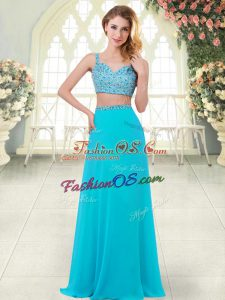 On Sale Straps Sleeveless Homecoming Dress Floor Length Beading Aqua Blue Chiffon