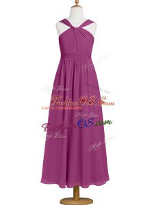Fantastic Fuchsia Chiffon Zipper Straps Sleeveless Tea Length Evening Dress Ruching