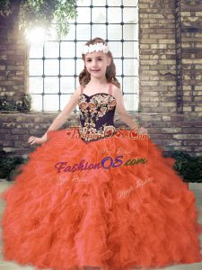 Unique Tulle Sleeveless Floor Length Little Girls Pageant Dress Wholesale and Embroidery and Ruffles