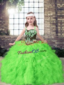 Straps Sleeveless Little Girls Pageant Dress Floor Length Embroidery and Ruffles Tulle