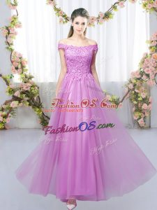 Nice Lilac Empire Off The Shoulder Sleeveless Tulle Floor Length Lace Up Lace Wedding Party Dress