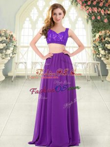 Ideal Purple Prom Party Dress Prom and Party with Beading and Lace Straps Sleeveless Zipper
