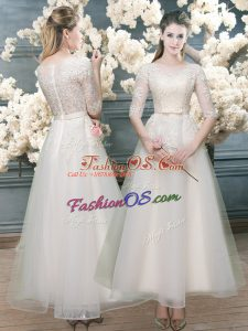 Flare White A-line Lace Prom Dresses Zipper Organza Half Sleeves